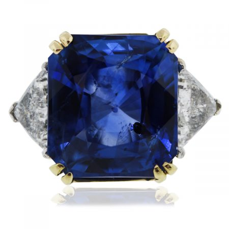 Platinum/18k Gold Radiant Cut Sapphire & Trillion Cut Diamond Ring