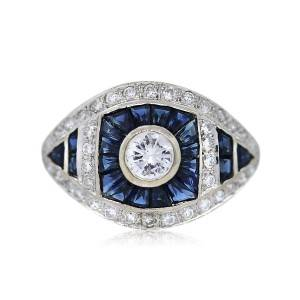 18k White Gold Vintage Style Diamond and Sapphire Cocktail Ring