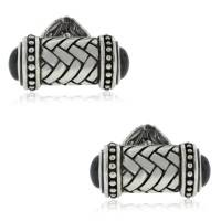 Scott Kay Sterling Silver Onyx Riveted Weave Cufflinks