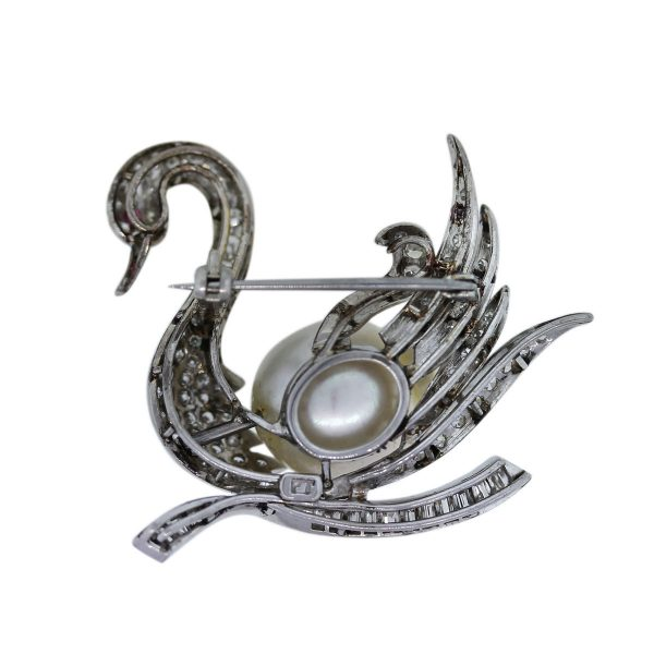 Pave Set Diamond, Pearl and Ruby Swan Pin