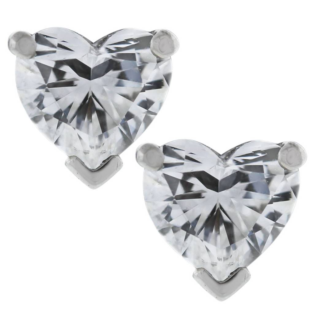 Platinum Heart Brilliant Cut Diamond Earrings