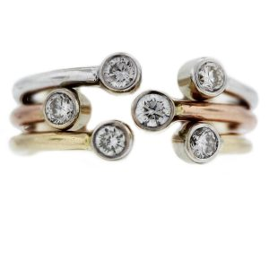 14k Set of 3 Tri Gold Diamond Stackable Rings