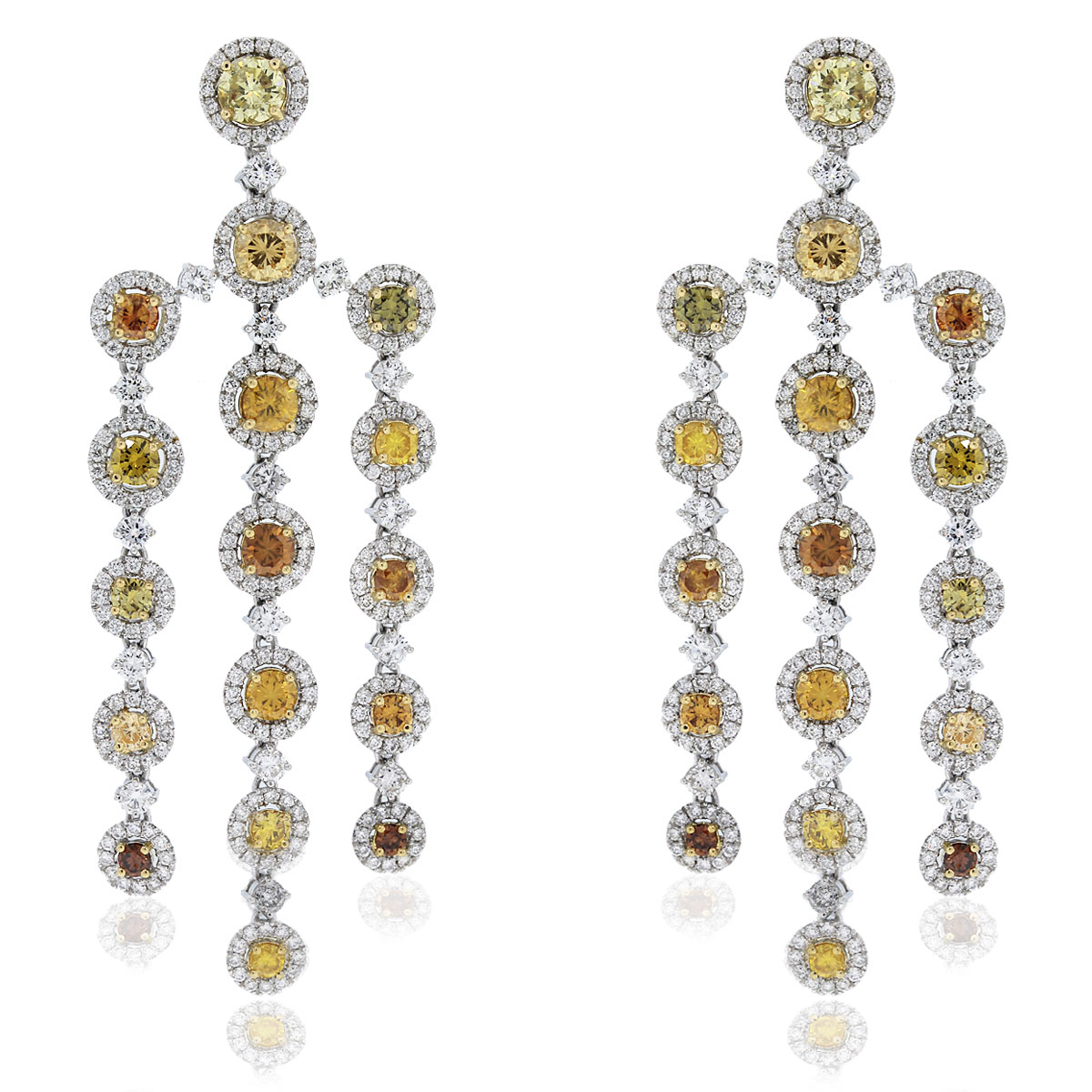 GIA Certified Platinum Fancy Yellow Diamond Chandelier Earrings