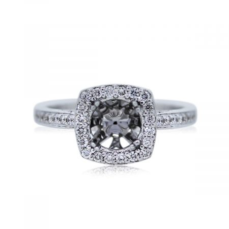 You are Viewing this 18k White Gold Diamond Halo Setting!