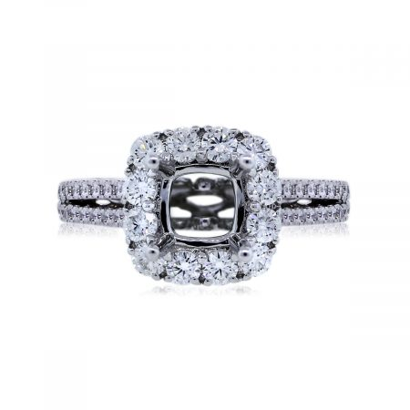 View This 18k White Gold 1.01ctw Diamond Halo Setting!!!