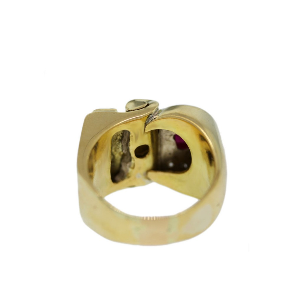 14k yellow gold and ruby mens ring boca raton