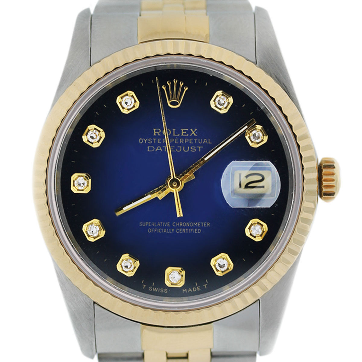 You are viewing this Rolex Datejust 16233 Blue Diamond Dial Jubilee Two Tone Watch!