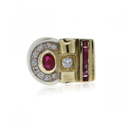 You are viewing this 14k Yellow Gold Diamond and Ruby Mens Ring!