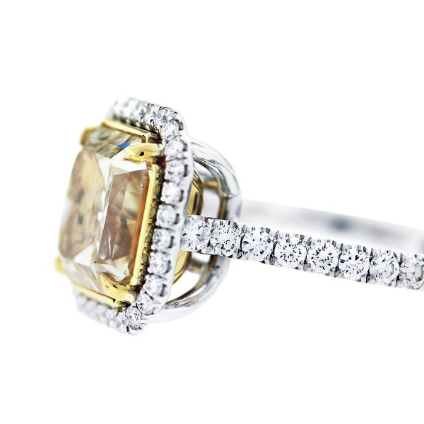 radiant cut fancy yellow engagement ring