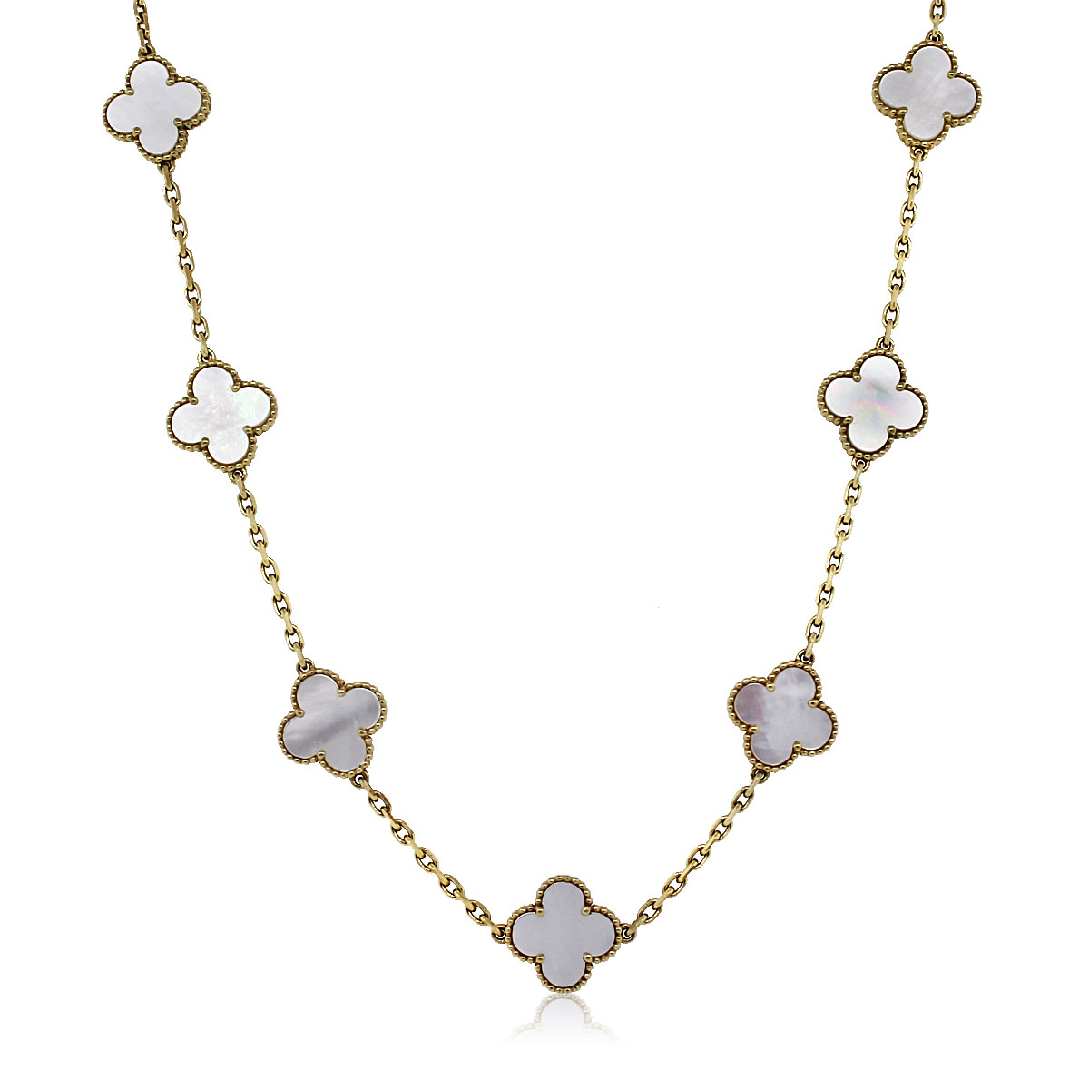 Van Cleef And Arpels Mother Of Pearl Necklace: Van Cleef & Arpels 10 Motif Mother Of Pearl Alhambra Necklace