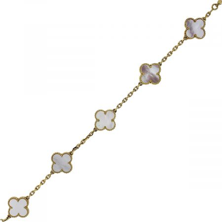 You are viewing this Van Cleef & Arpels 5 Motif MOP Alhambra 18k Yellow Gold Bracelet!