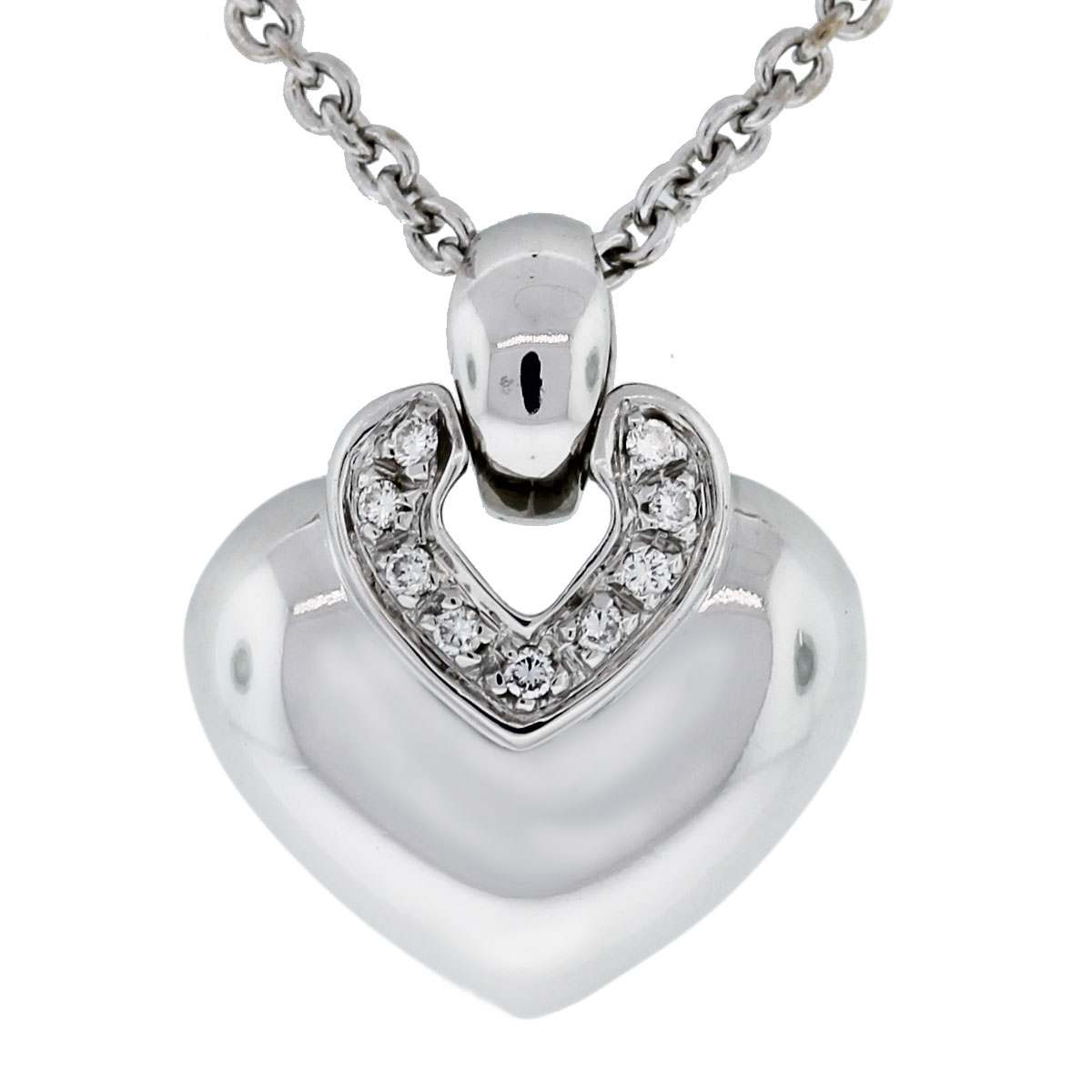 Bulgari 18k White Gold Diamond Heart Pendant w/ Chain