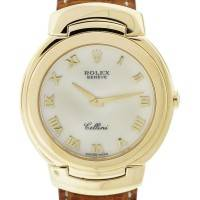 Vintage Rolex Cellini 6622 18k Yellow Gold Ostrich Leather Band Watch
