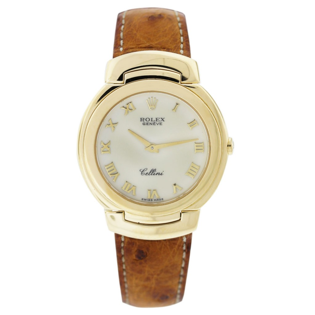 vintage rolex cellini 6622 18k yellow gold ostrich leather