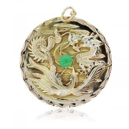 You are viewing this gold chinese dragond jade pendant!!
