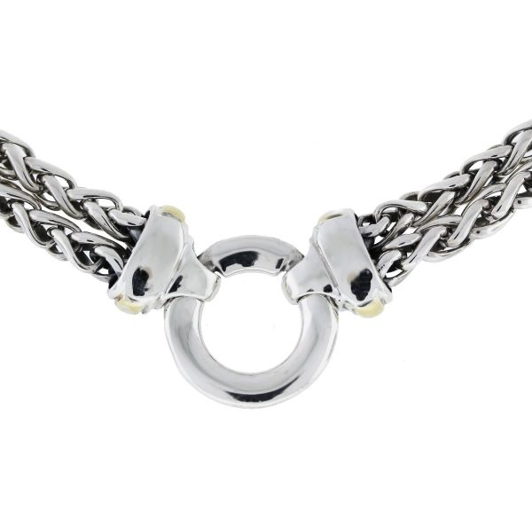 David Yurman Sterling Silver Double Row Charm Chain Necklace back