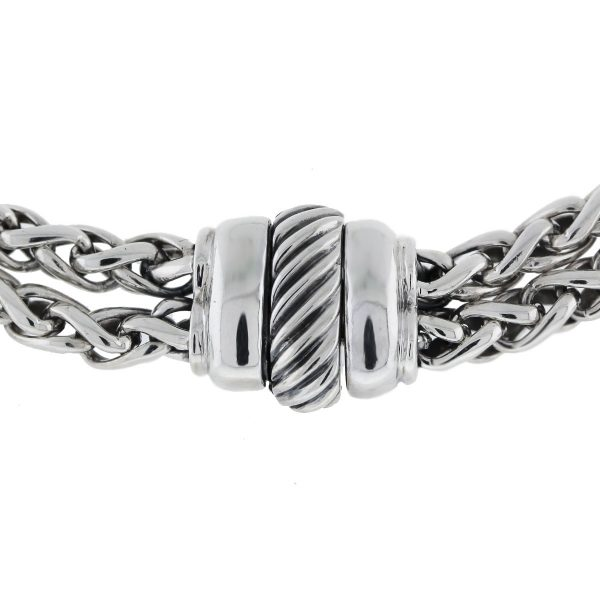 David Yurman Sterling Silver Double Row Charm Chain Necklace clasp