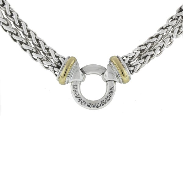 David Yurman Sterling Silver Double Row Charm Chain Necklace