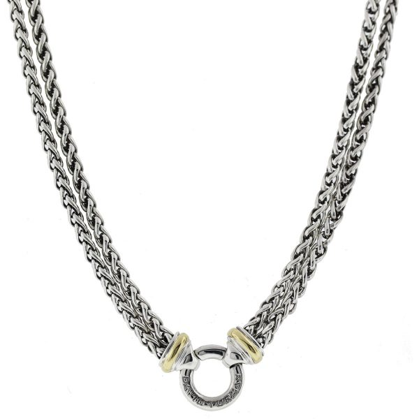 David Yurman Sterling Silver Double Row Charm Chain Necklace full