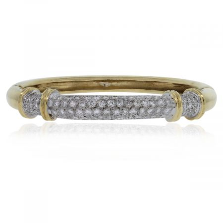 14kt Gold Round Cut Diamond Bangle Bracelet