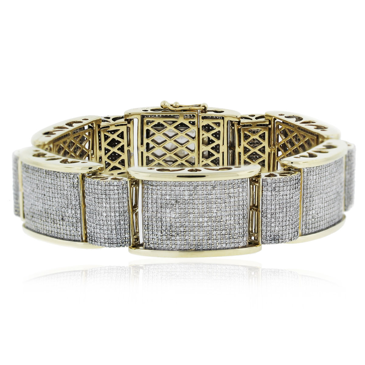10k Yellow Gold Round Cut Diamond Pave Thick Link Men's Bracelet