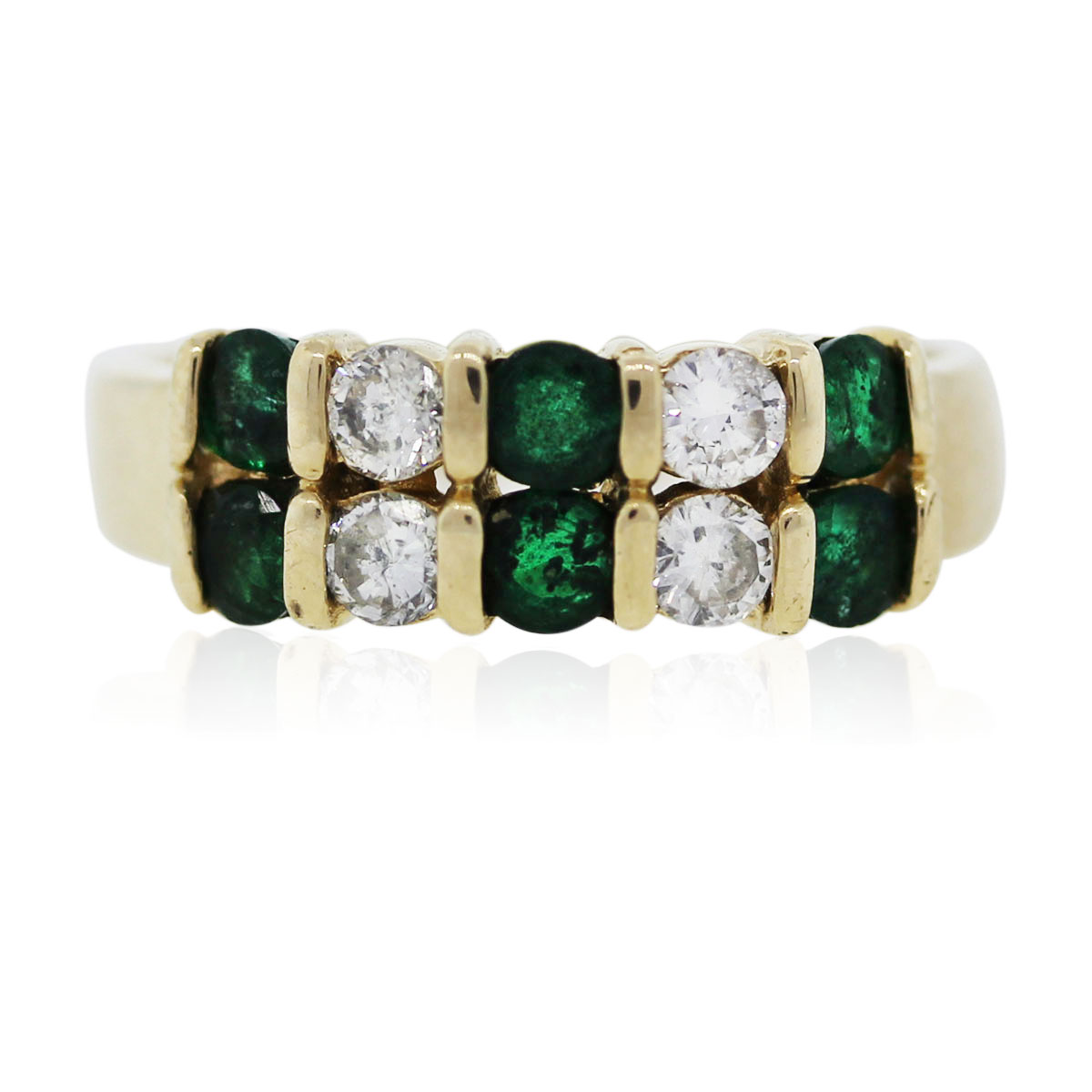 You are viewing this yellow gold emerald and diamond ring!