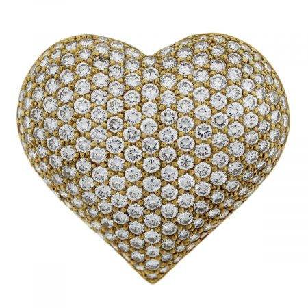 18kt Yellow Gold Round Cut Diamond Puffy Heart Pin