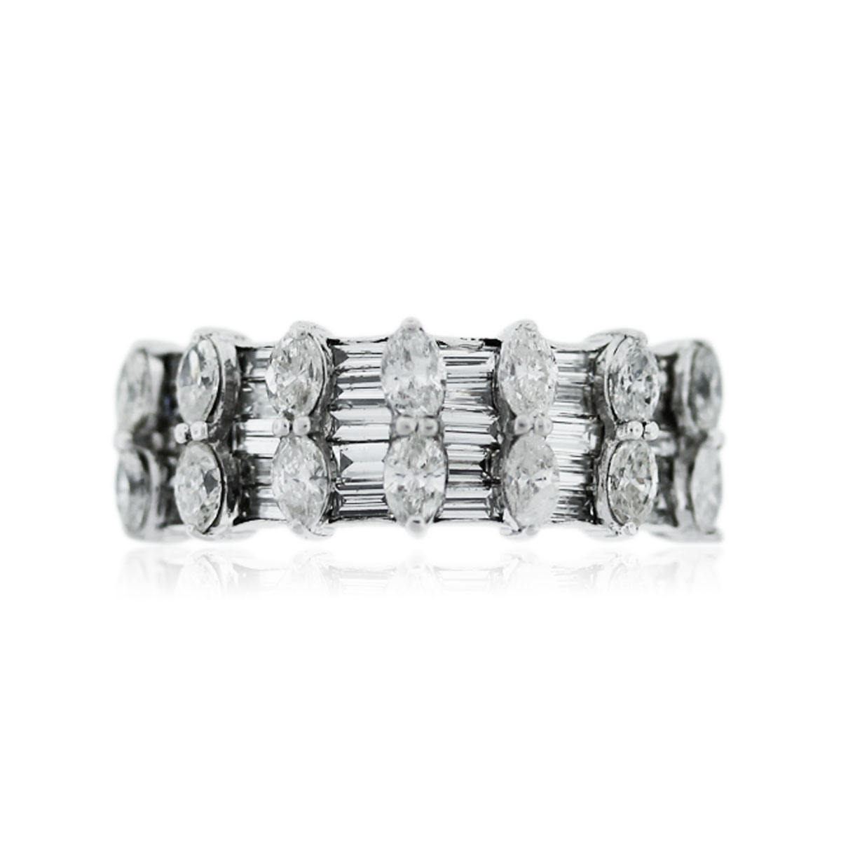 Round Brilliant and Marquise stone Band
