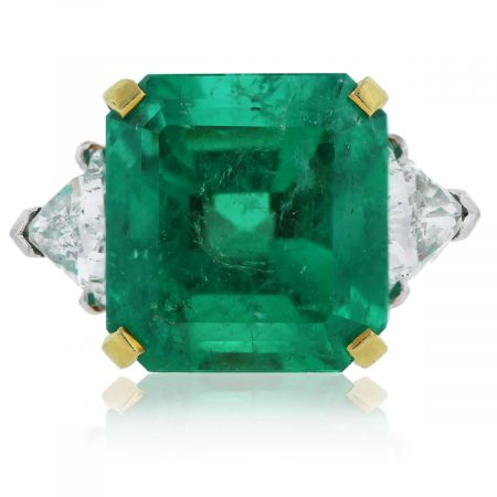 Radiant Cut Emerald & Trillion Cut Diamond Ring