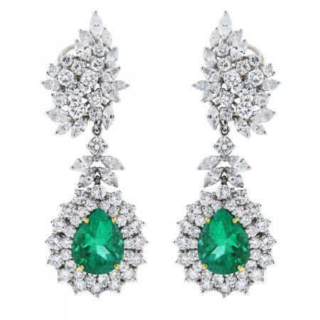 Platinum Pear Cut Emerald/Marquise & Round Cut Diamond Earrings