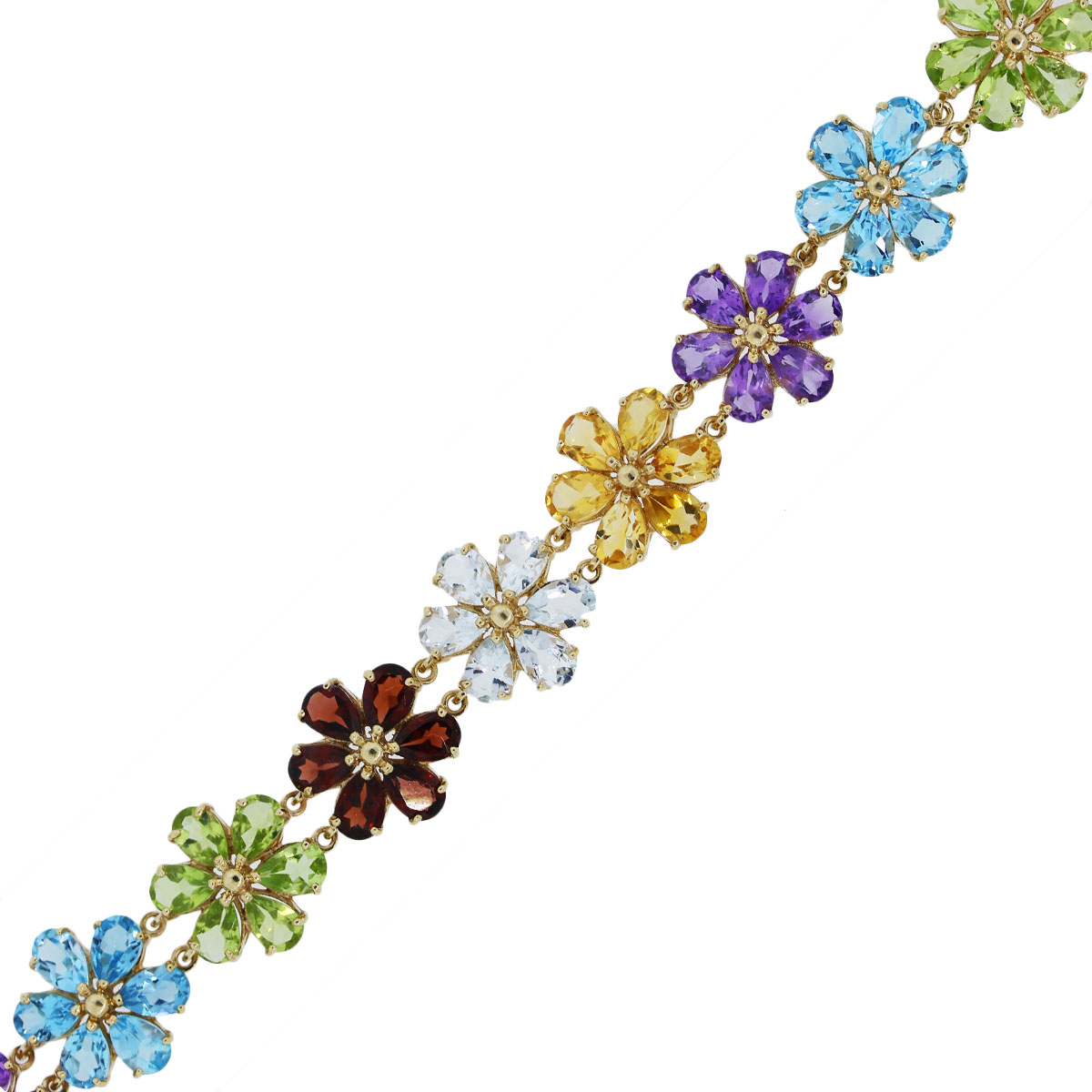 You are viewing this gold multi gemstone flower bracelet!!