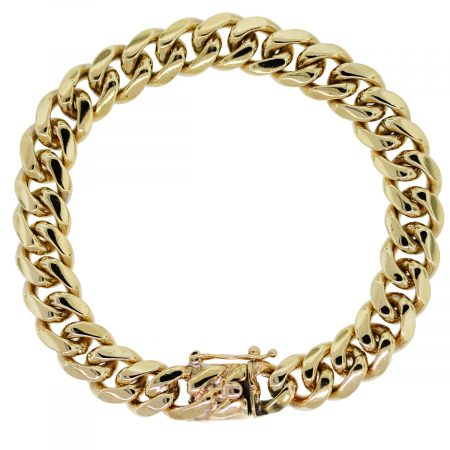 18kt Yellow Gold Cuban Link Men's Bracelet