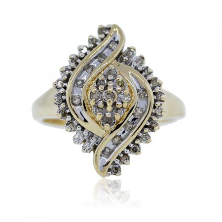 You are viewing this yellow gold and diamond cocktail ring!!