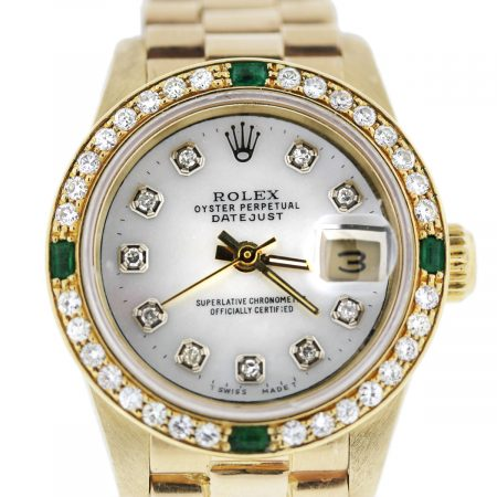ladies Gold Diamond/Emerald Rolex