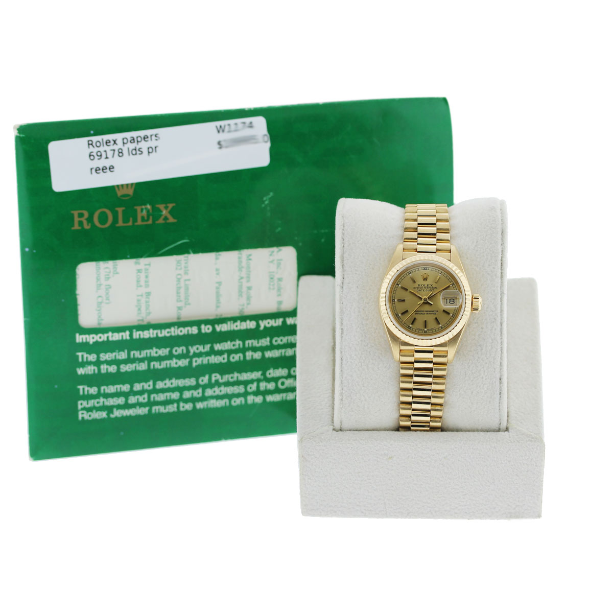 Ladies Rolex 69178 Presidential DateJust 18k Gold Jubilee Watch with Papers
