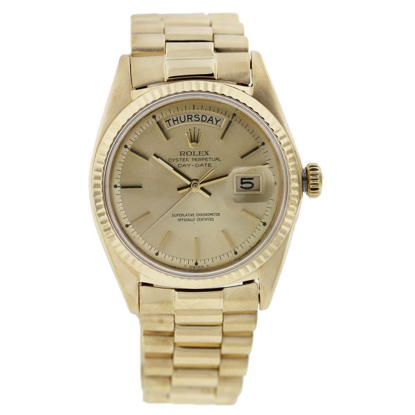 Rolex 18k Gold Day Date 1803 Non-quick Champagne Dial Watch full