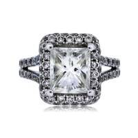 18k White Gold 2.42ct Radiant Cut Halo Set Engagement Ring