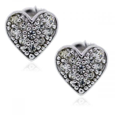 You are viewing these white gold diamond heart earrings!
