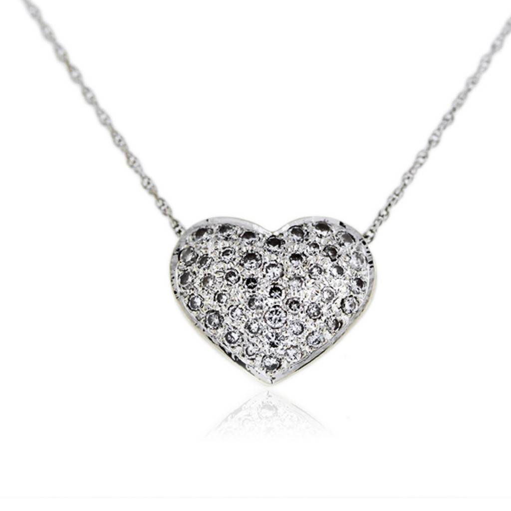 White Gold Heart Locket Necklace