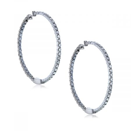 View These White Gold Inside Out Diamond Hoop Earrings!