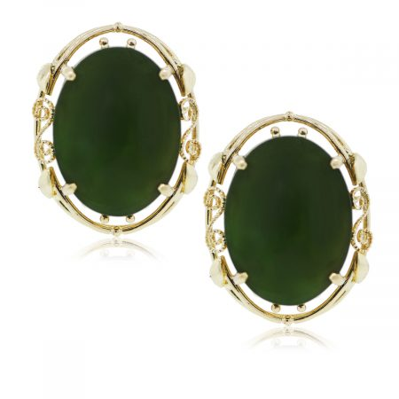 You are viewing these 14k yellow gold oval jade earrings!