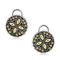 John Hardy Sterling Silver & 18K Yellow Gold Button Earrings