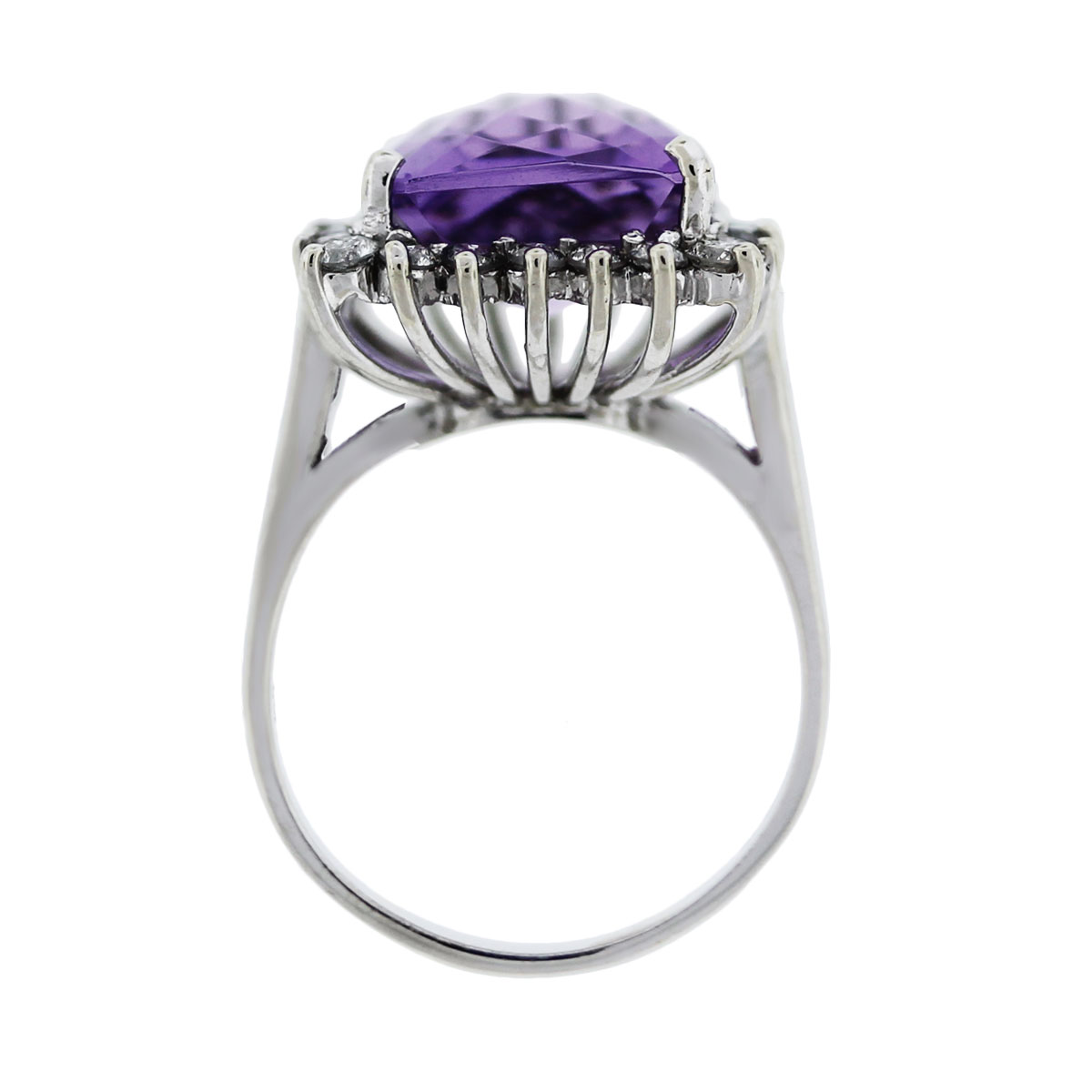 Diamond White Gold and Amethyst Ring