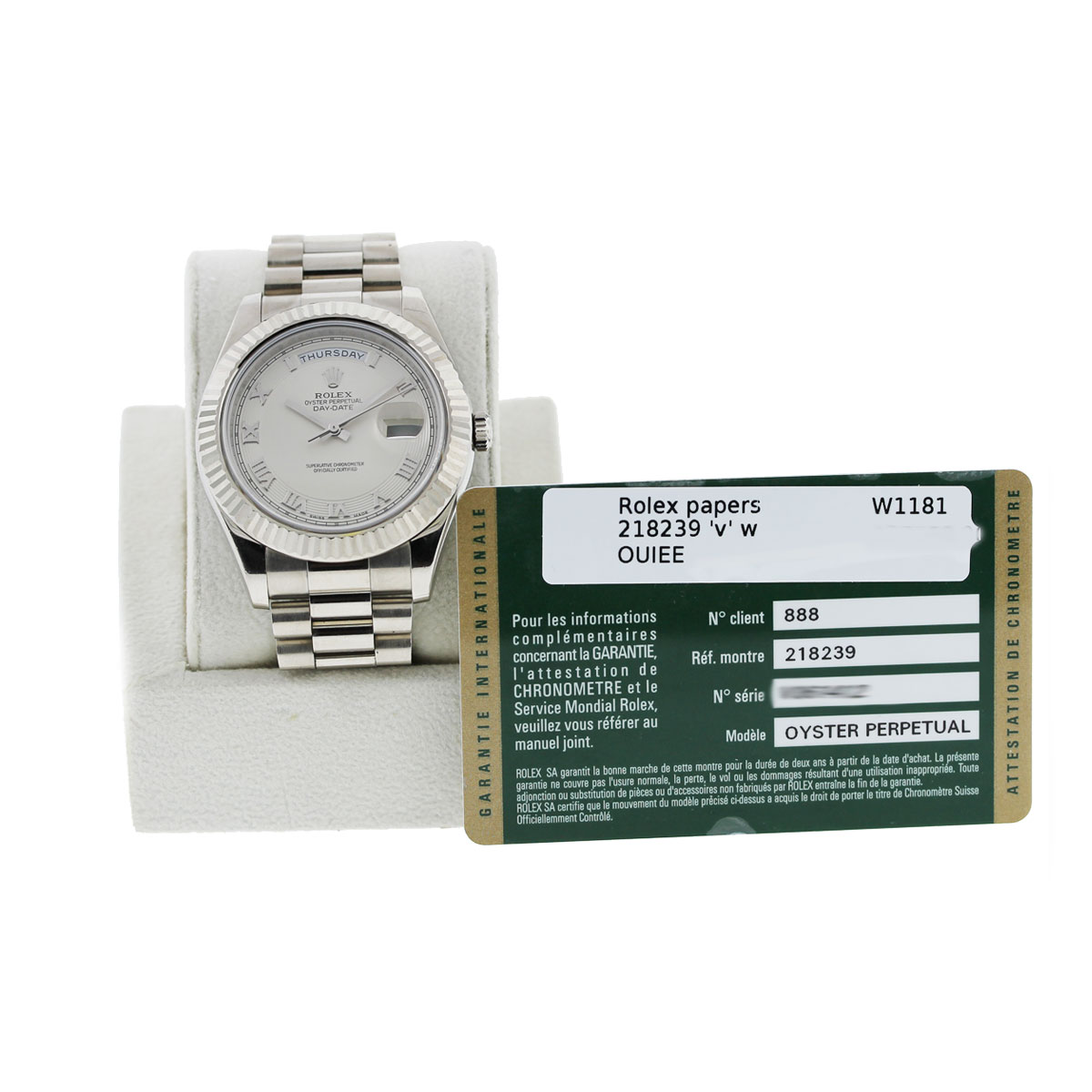 Rolex Day Date 218239 Eggshell Roman Dial 18k White Gold Watch papers