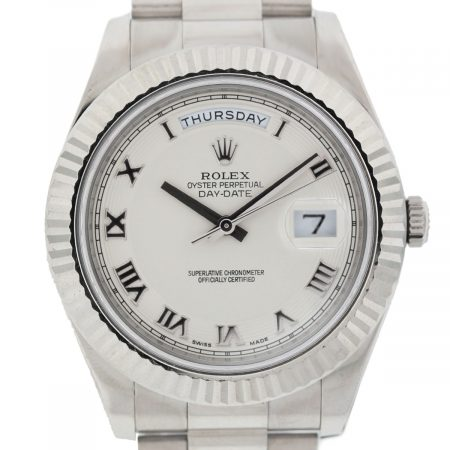 Rolex Day Date 218239 Eggshell Roman Dial 18k White Gold Watch