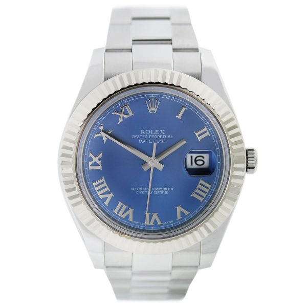 Rolex DateJust II 116334 Blue Roman Dial with Date Stainless Steel Watch