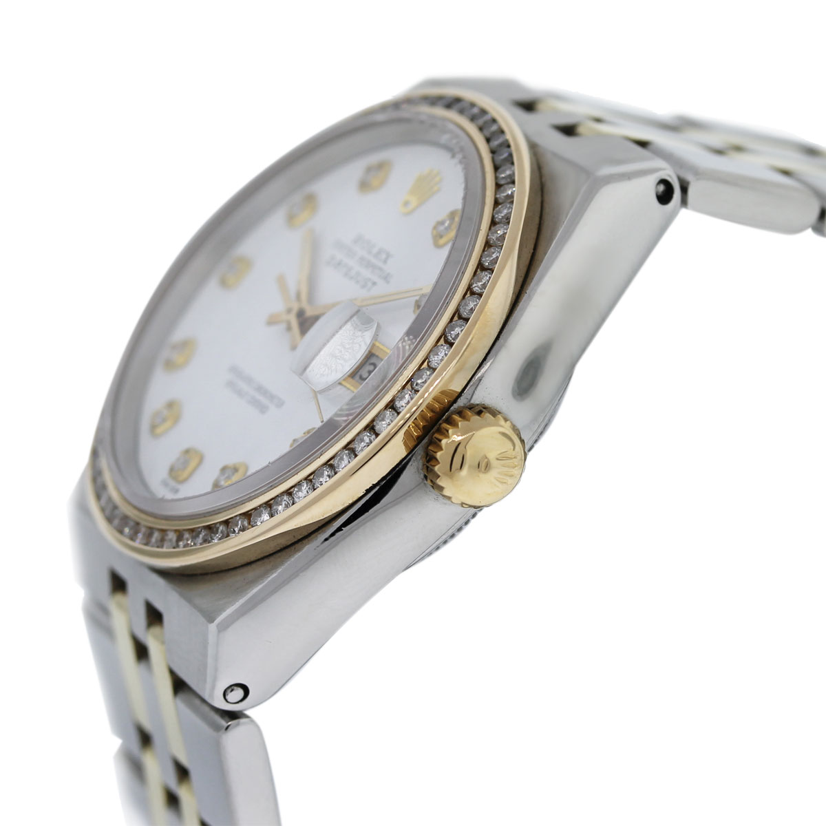 Rolex DateJust 17013 Two Tone White Pyramid Diamond Dial/Bezel Watch crown
