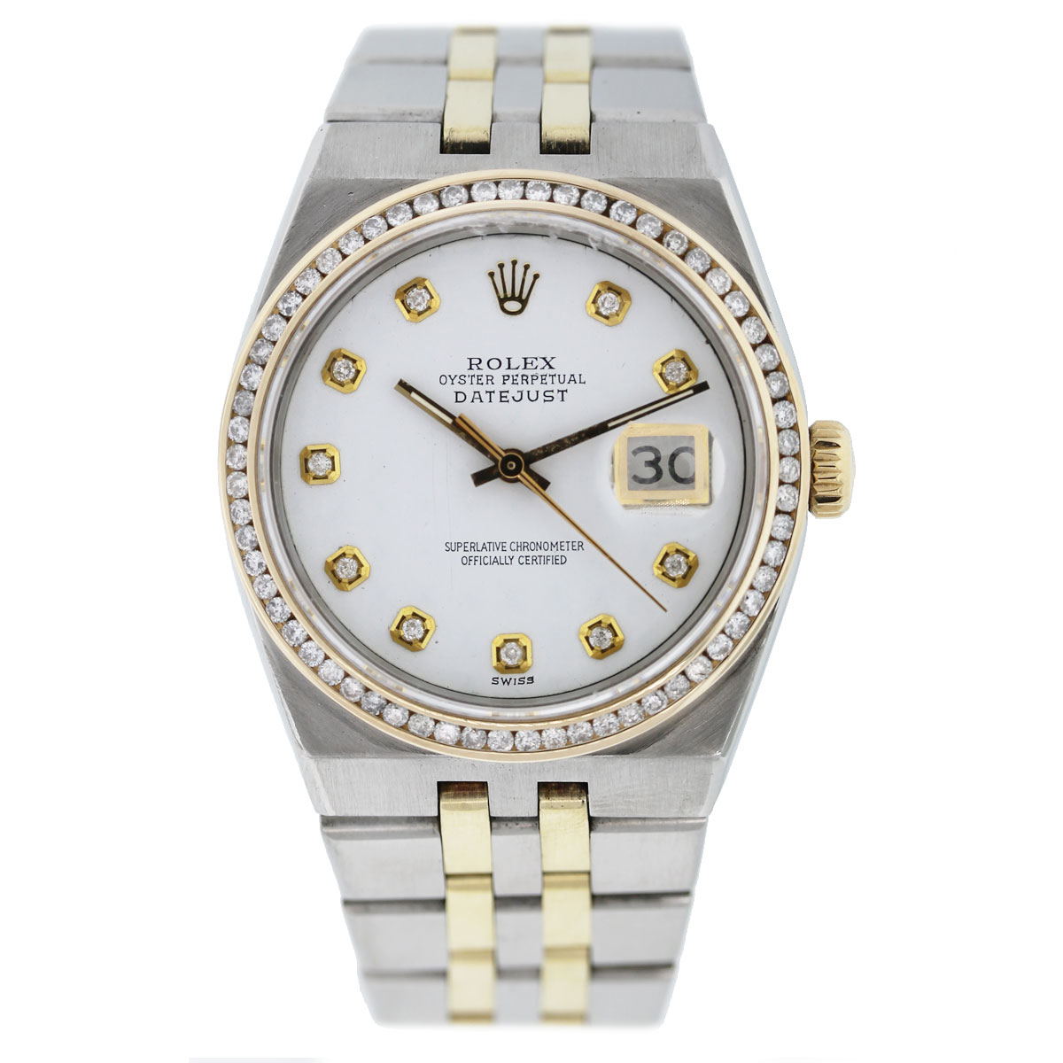 Rolex DateJust 17013 Two Tone White Pyramid Diamond Dial/Bezel Watch full