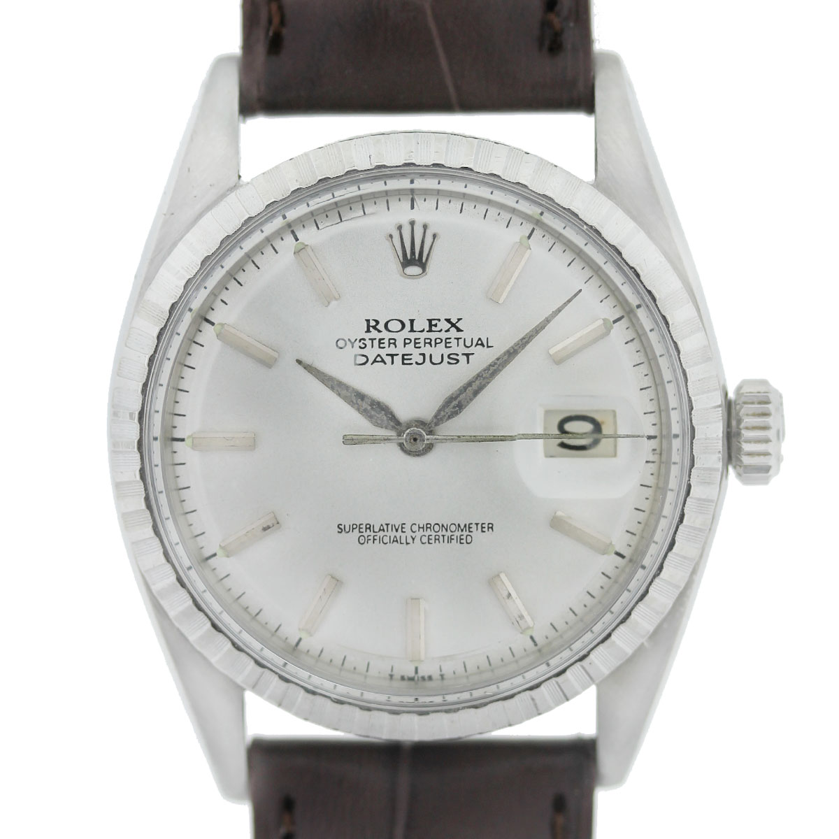 Rolex DateJust 1603 Stainless Steel Silver Dial on Brown Leather