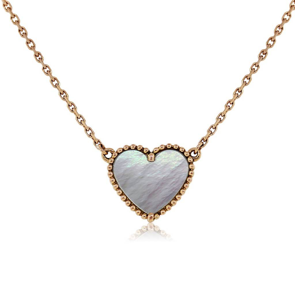 21a07a84a46c8 Van Cleef & Arpels Sweet Alhambra Heart Pendant on Rose Gold Chain